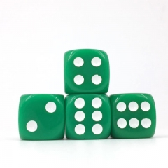 (Green Opaque) 16mm D6 Pips dice