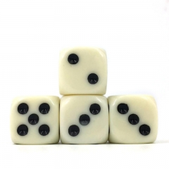 (Ivory White Opaque) 16mm D6 Pips dice