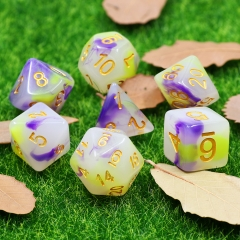 (Purple+Yellow) Jade Dice Set