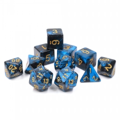 (Blue+Black)Pearl Color Dice-11 pcs set