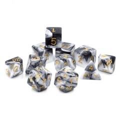 (Opaque white+black) Blend color dice-11 pcs set